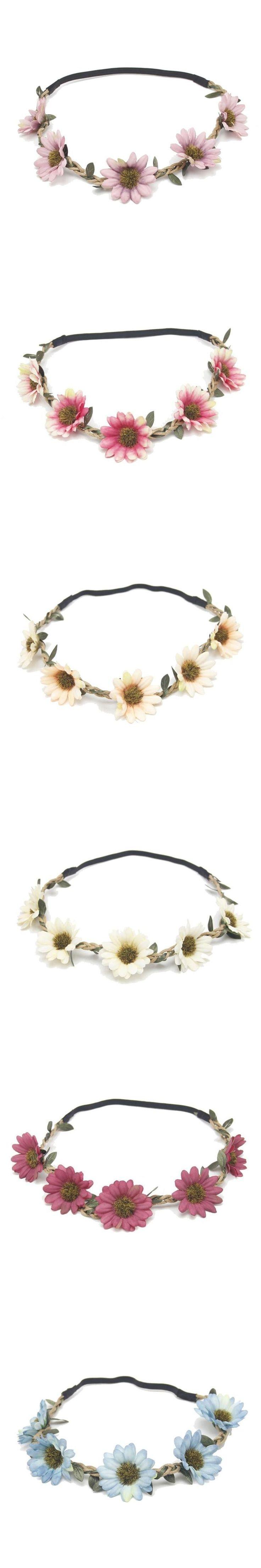 Women Boho Sunflower Garland Floral Crown Hairband Headband Beach Party Wedding Nov 8 #weddingcrowns