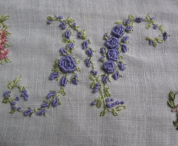 Hand Embroidery Monogram Letter N