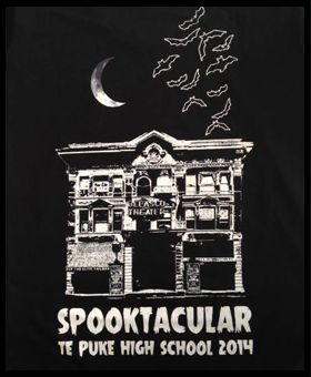 Spooktacular tee for Te Puke Highschool, from your friendly neighbourhood screen printers in tauranga! WWW.ColourWorksnz.Com