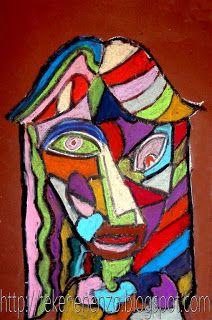 BB. Picasso. De leerlingen tekenen met wit bordkrijt (dit is gemakkelijk uit te vegen) op bruin papier een portret in de stijl van Picasso. Ogen, neus en mond kunnen dus op andere plaatsen zitten en vanuit een ander gezichtspunt te zien zijn, en de stijl van de tekening moet hoekig zijn. Verdeel de onderdelen van het gezicht en haar ook in vlakken. Inkleuren met oliepastels. Omlijn de gezichtsonderdelen, gezicht en haarlijn met zwarte oliepastel.