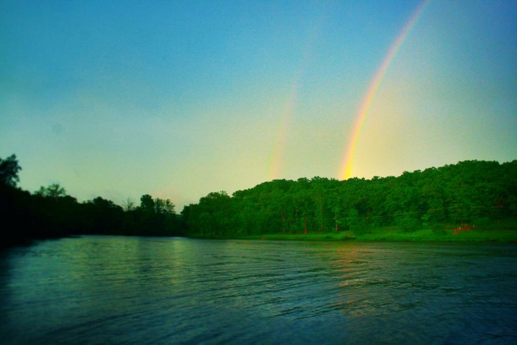 Thursday May 30, 2013 Sunrise Beach, MO Double Rainbow over the back of Buccaneer Bay on Lake of the Ozarks, MO.