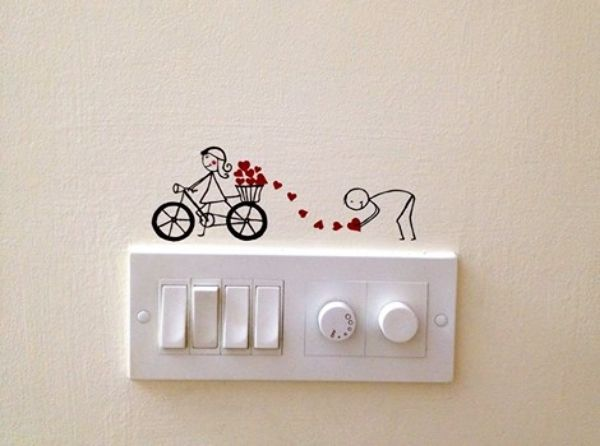 40 Cute And Creative Home Switchboard Art Installation Bored Art Wall Paint Designs Simple Wall Paintings Wall Painting Decor