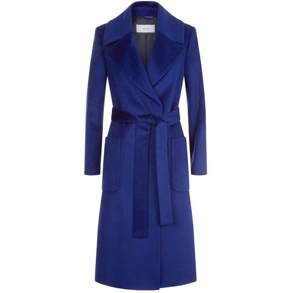 Reiss Chiltern Long Wrap Coat ($485) ❤ liked on Polyvore featuring outerwear, coats, reiss coats, blue coat, long coat, wrap coats and long wrap coat