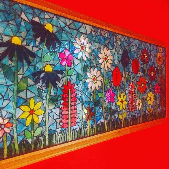 Flower garden mosaic panel by lowlightcreations on Etsy