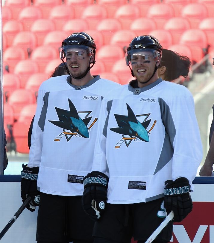 San Jose Sharks forwards Logan Couture and Joe Pavelski during practice at Levi's Stadium (Feb. 20, 2015).