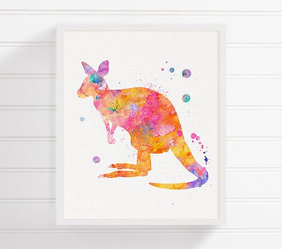 High quality print of my original watercolor artwork Happy Kangaroo.  Professionally printed on heavy weight (230 g. 9-5 mil), acid-free, high