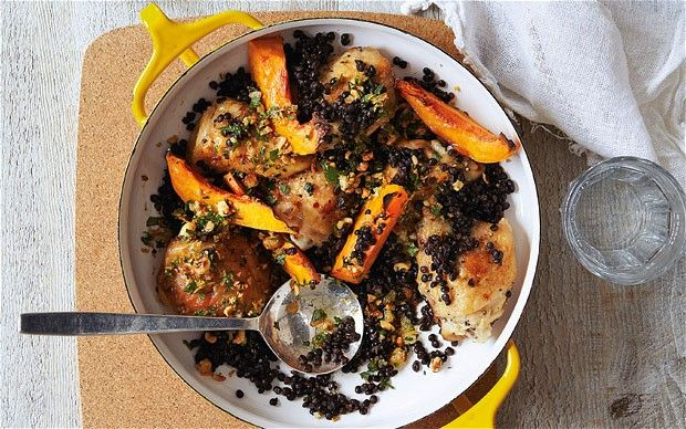 Roast chicken and pumpkin with black lentils and hazelnut picada: Lentils Recipes, Roast Chicken, Chicken Thighs, Chicken Pumpkin, Roasted Chicken, Black Lentils, Pumpkin Serving, Thighs Roasted, Autumn Dishes