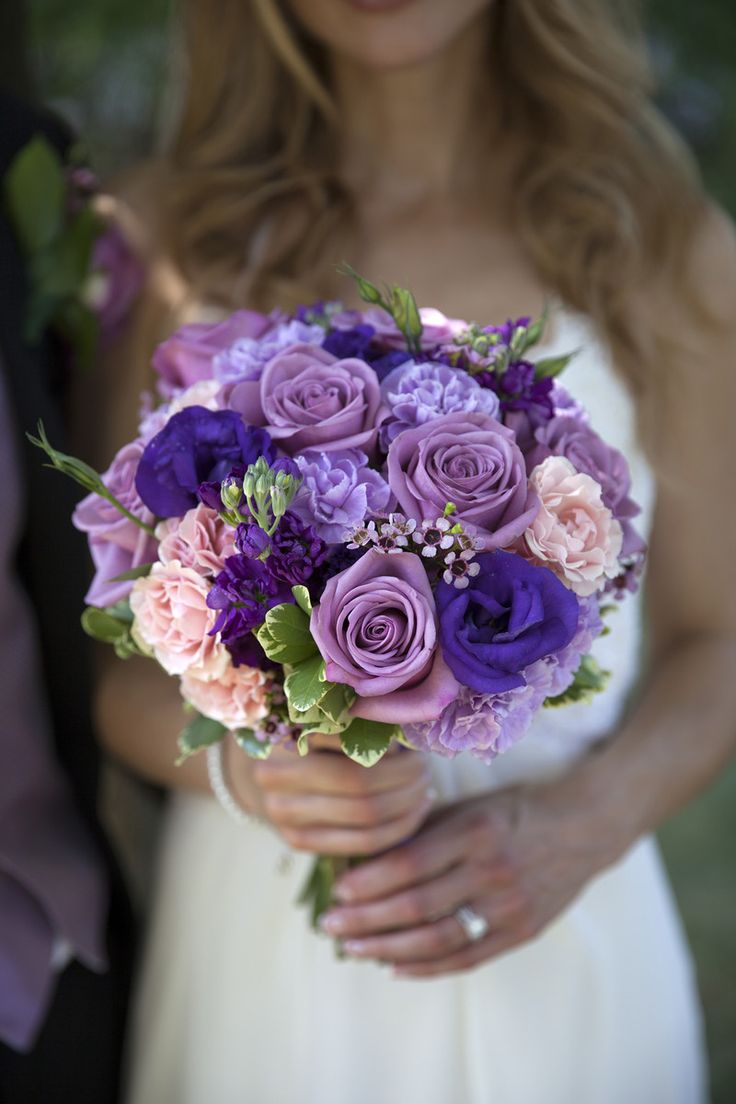 Purple wedding bouquet idea - roses, peonies + baby's breath {Wahlstrom Photography}