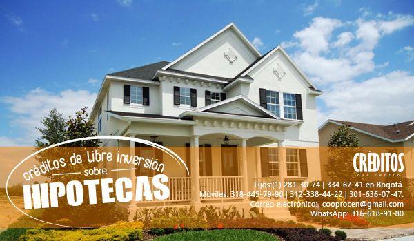 Te presentamos nuestro nuevo servicio, ¡CRÉDITOS DE LIBRE INVERSIÓN SOBRE HIPOTECAS!  llámanos y pregunta por esta y más maneras de obtener tu crédito con nosotros.   ☎ Fijos:(1) 281-30-74 | 334-67-41 en Bogotá. ✆ Móviles: 318-445-79-90 | 312-338-44-22 | 301-636-07-47. WhatsApp: 316-618-9180