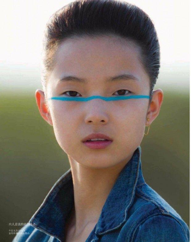 Vogue China Julho 2013 | Editorial de Beleza | Xiao Wen Ju por Hans Feurer #CartonMagazine