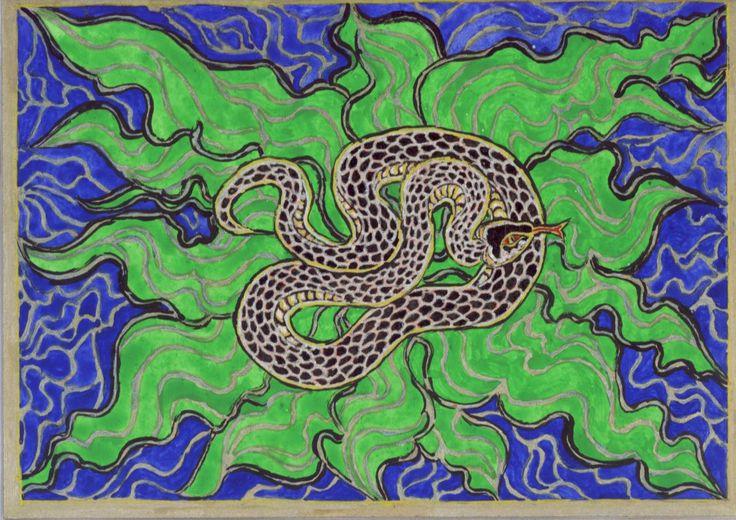 """Vízisikló, 2004. Jelképtár:   """"Az összetekeredett kígyó az anyagi világ fenntartója, az élet forrása s mint ilyen, nőies /.../ Hozzá társul még az állandóság (Visnu Ananta = végtelenség nevű kígyója), a középpont, a körforgás, ciklikus idő, örvény (a Sarkcsillag körüli Sárkány), a kerék (Demeter kocsijának a kereke), az őskáosz, az Alvilág, a labirintus képzete (..). Az agy tekervényeit is megidézi : az okosság, a logika és a jóstehetség jelképe."""""""