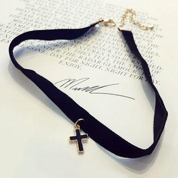 Чокер - С крестиком  Золотой с черным