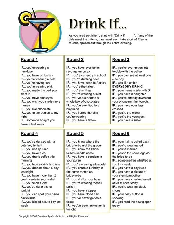 Girls night game! Space them out throughout the night!