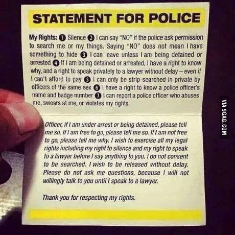 Always good to know your rights, it's also good to have a few of these with you