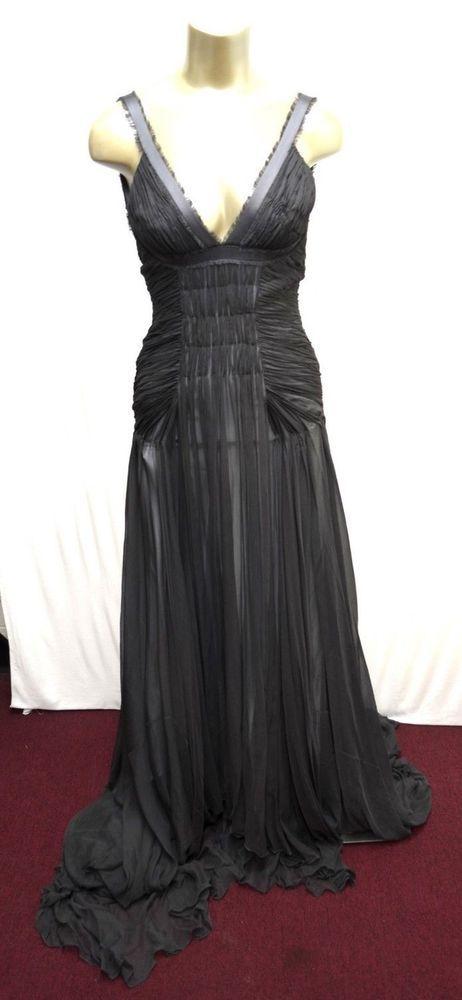 61572d28e2ba BCBG Max Azria ATELIER Gown Gray maxi Long Tail SILK Red Carpet 2-4 # MaxAzria #MaxiDress #Formal