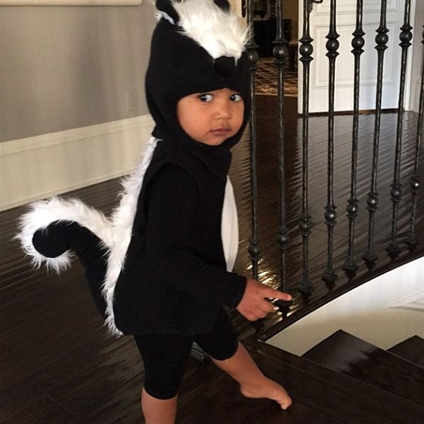 North West's Skunk Halloween Costume Is Too Stinkin' Cute—See for Yourself!  North West, Kim Kardashian, Instagram