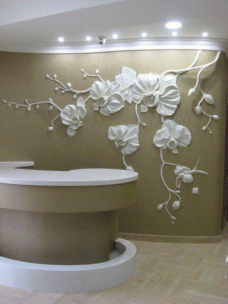 Mural plaster relief. Wall sculpture