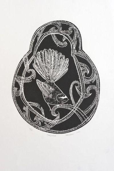 Charlotte Graham Woodcut - Fantail
