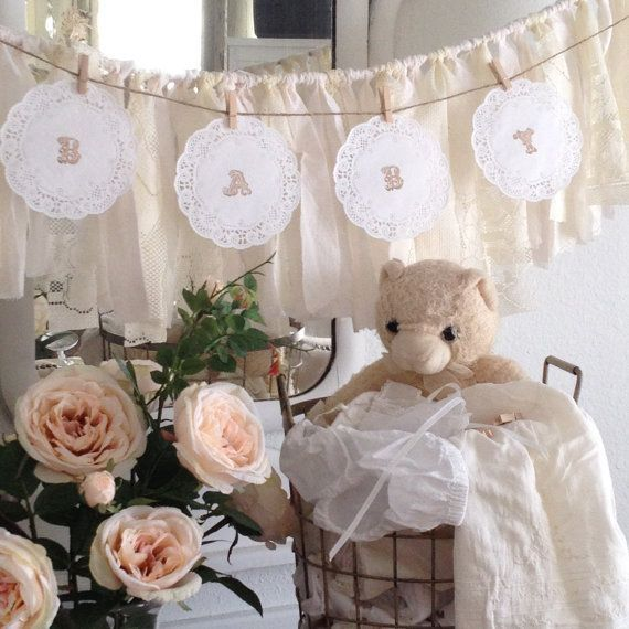 DIY Child Bathe Doily Banner Package, Child Bathe Banner Concepts,  Lace Paper Doily Garland, Shabby Stylish Child Bathe Decor, Dena Danielle Designs.  Discover more at the photo