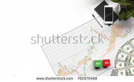 buy or sell business graph and money mobile background investment and financial investor stock market and money candlestick graph chart with indicator for copy space object minimal concept flat lay