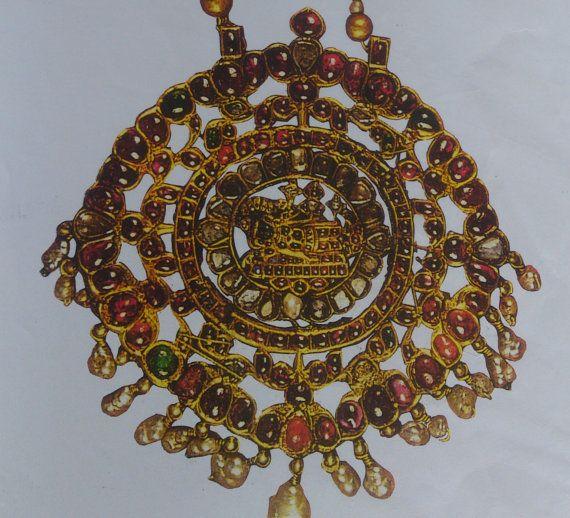 antique Kundan meena gold polki diamond rubies set pendant necklace jewelry 392-42 via Etsy