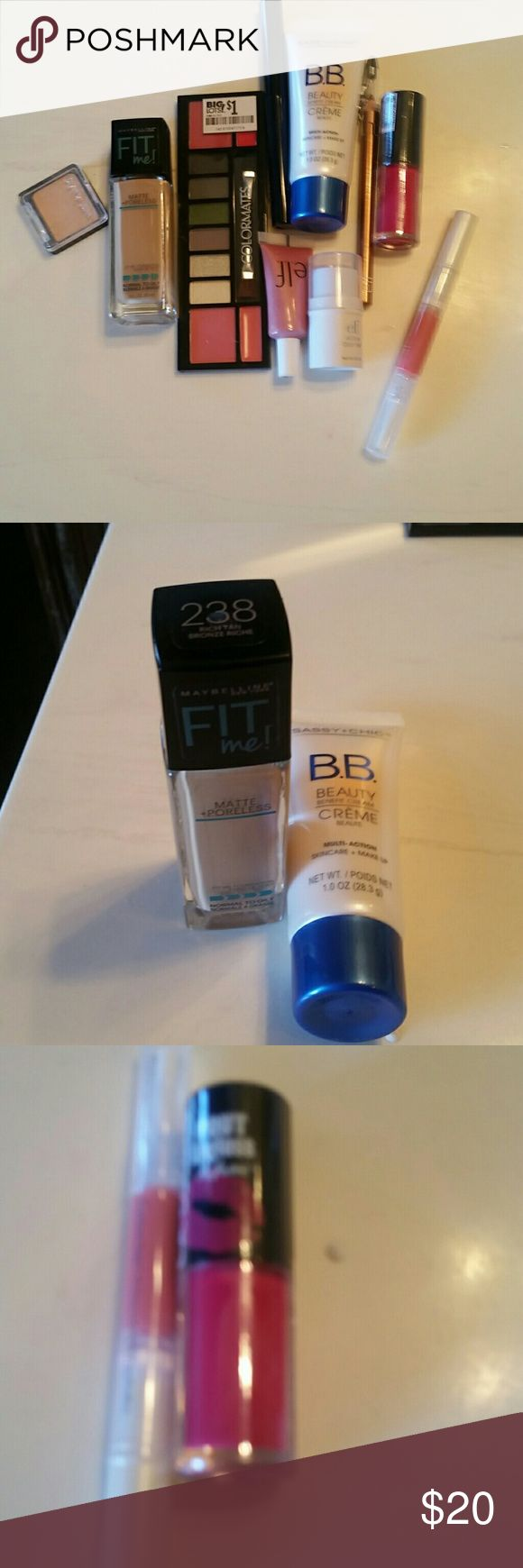 *LOWEST* Makeup bundle 2 eyeshadow sets - creme Brule was tested with my finger tip, never actually used. BB creme. Used once, too light for me. Maybelline fit me, matte poreless. Color 238 - rich tan. Never used, too dark for me. Elf and L.A. colors lip gloss. Never used. Elf is flirt, LA is matte, deep berry color. Gold eyeliner, never used, sharpened on cap. Mascara, never used. Elf facial shimmer in pink lemonade, never used. Elf all over color stick in pink lemonade, never used. ELF…