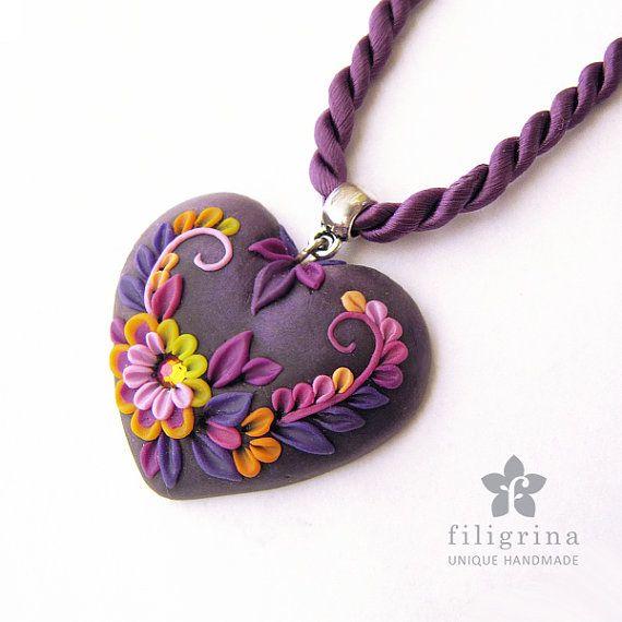 SWEETHEART  handmade heart shaped pendant floral by Filigrina, €19.99