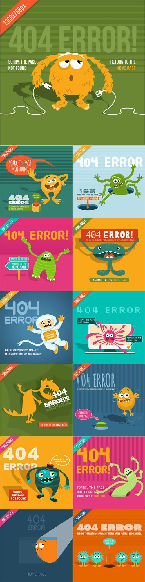 404 Error Page Vector Template Collection