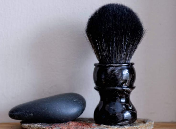 Shaving Brush - Spring Mist Resin Lathe-Turned Handle with Synthetic BOSS Knot by LoveYourShave on Etsy