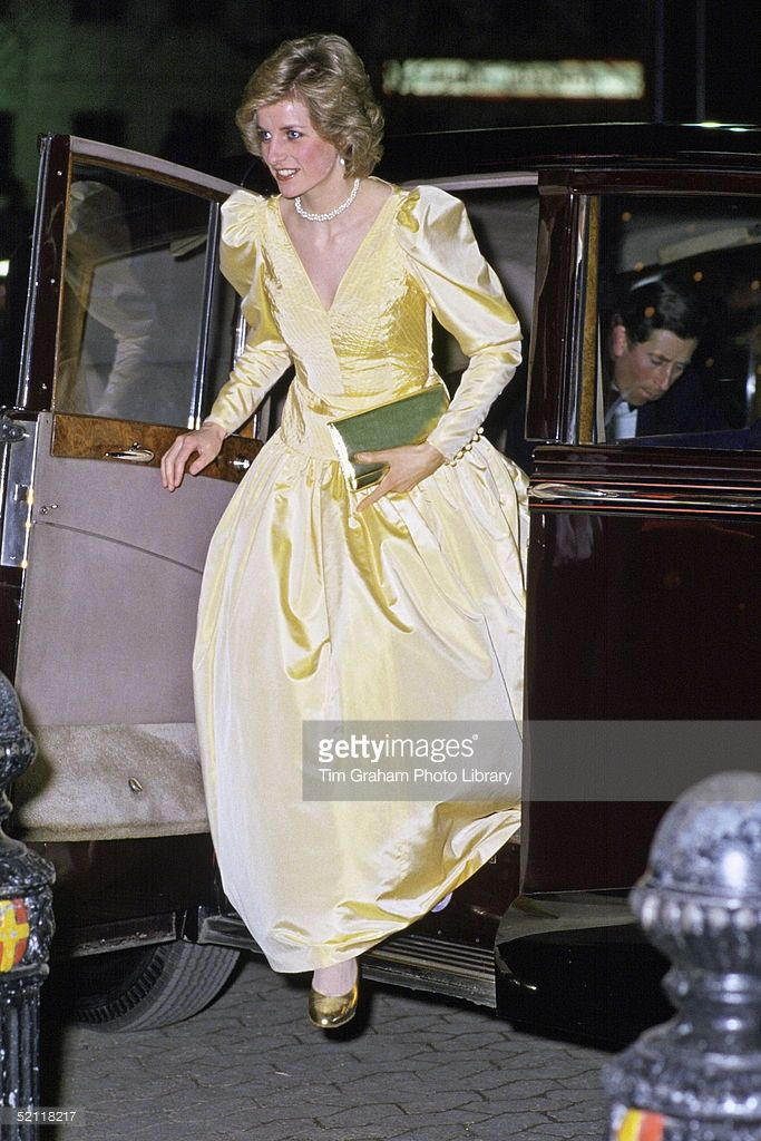 Princess Diana Arriving In Rolls Royce Limousine Car For The Premiere Of The Film 2010 In London Wearing A Satin Evening Dress Designed By Fashion Designer Murray Arbeid
