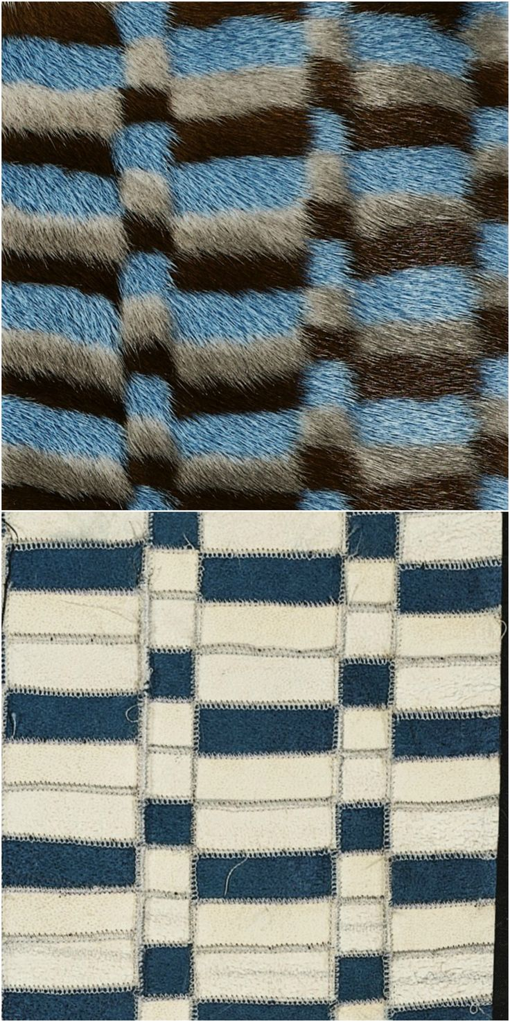 1cm stripes in three coulours sewn together vertically. Measurements of 1 and 3cm are cut horizontally, and zig zag'ed into their new placement and sewn together on fur-maschine.