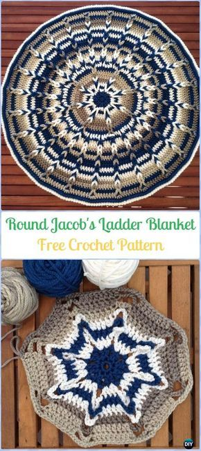 Crochet Round Jacob's Ladder Baby Blanket/Mat Free Pattern-Crochet Circle Blanket Free Patterns