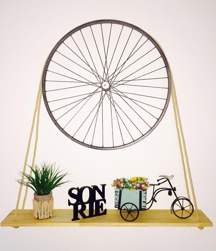 Repisa con tin de bicicleta