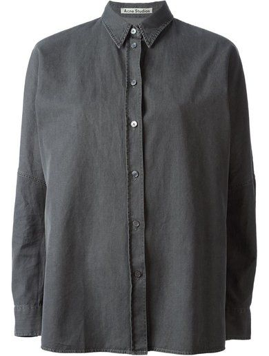 'Grey cotton 'Jetson' denim shirt from Acne Studios featuring a classic collar, a front button fastening, an oversized fit, long sleeves and button cuffs.' www.sellektor.com