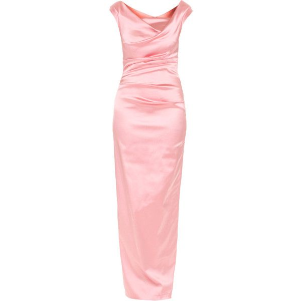 TALBOT RUNHOF Donde Long Pink // Draped satin evening gown ($445) ❤ liked on Polyvore featuring dresses, gowns, iltapuvut, long dresses, red evening dresses, long red dress, pink maxi dress, red midi dress and red satin gown