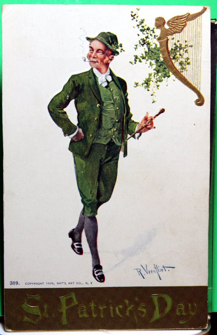 Veentlie Signed St. Patrick's day Vintage postcard Irish guy dressed in Green Costume by JerryBurton on Etsy