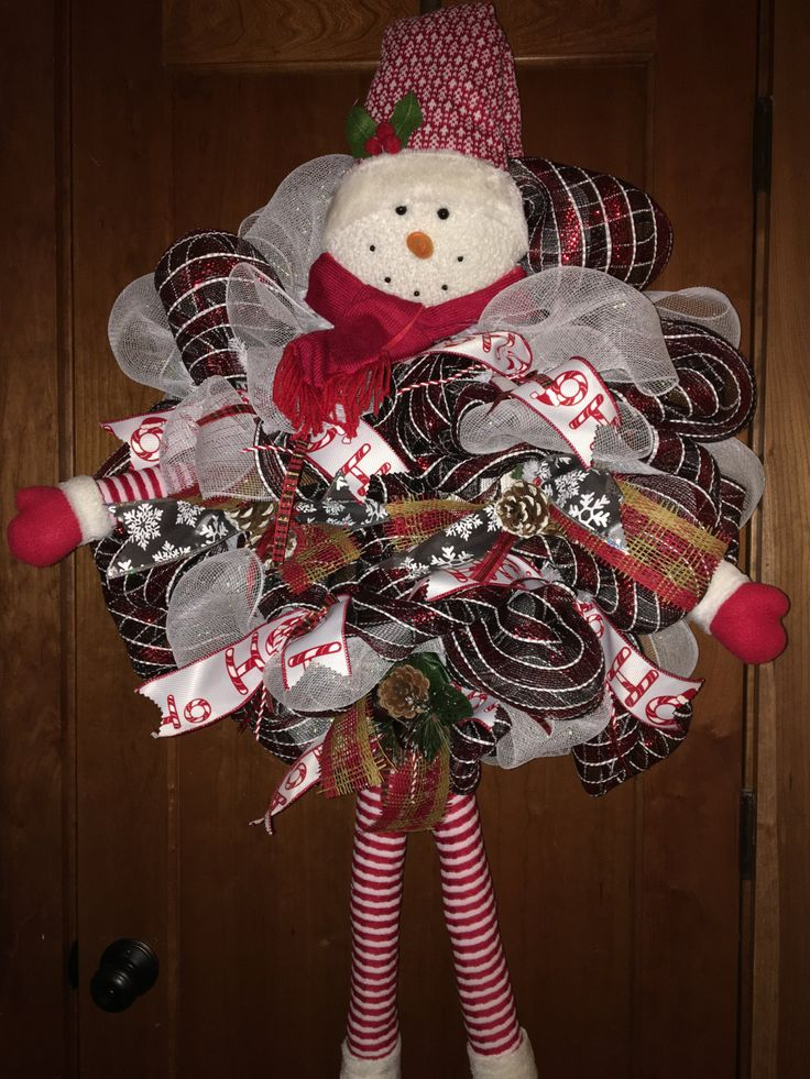 Snowman Wreath, Christmas Wreaths, Christmas Wreath, Traditional Christmas Wreath, Large Christmas Wreath by AllCreationsByDonna on Etsy