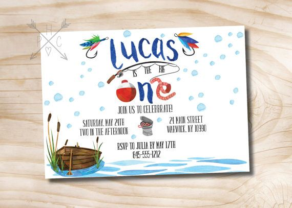 Fishing Birthday Invitation Watercolor by PaperHeartCompany