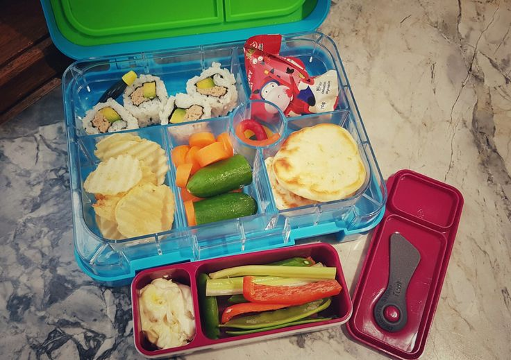 Day 4:  Crunch & Sip -  * Celery & Capsicum sticks, fresh beans and snow peas and corn relish dip.  Lunch / Morning Tea -  * Tuna & Avocado Sushi * Strawberry Yoghurt  * Homemade GF Peas & Corn Fritters * Mini Cucumber & Carrot Circles * GF Salt & Vinegar Chips * 2 x GF snakes as a bonus for eating their lunch all week