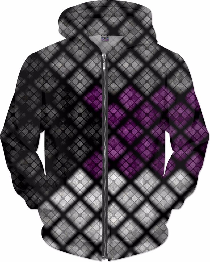 Diamond Scales Flag Pattern in Demisexual colors. Demisexual alternating diamonds pattern in grey, purple, and white with black triangle pride flag colors.