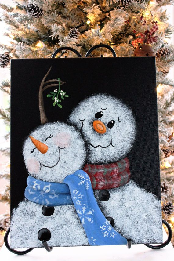 This is a painting of an adorable snowman couple meeting under the mistletoe. Mr. Snowman bashfully dangles the mistletoe over his sweeties head hoping for a little kiss. The painting is done on an 11x14 inch canvas. The sides have been painted so no framing is necessary. The painting