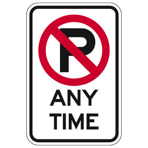 No Parking Any Time Signs with No Parking Symbol - 12x18