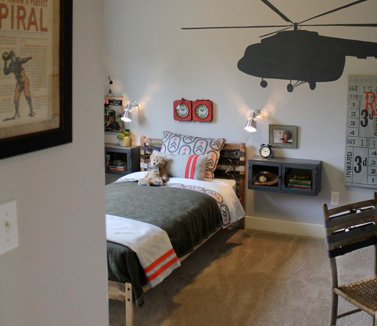 Military Themed Boys Room, Ikea Bed, Stained And Belts