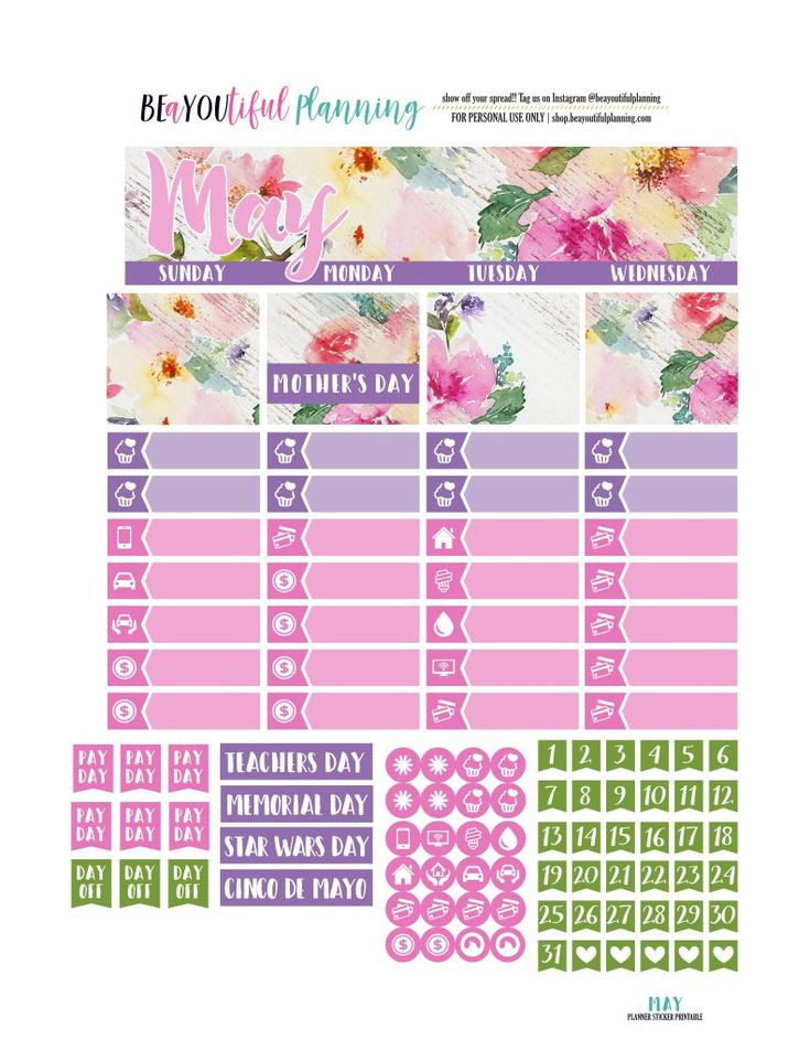Free Printable May Monthly Planner Stickers Kit from BEaYOUtiful Planning