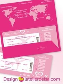 Faire part voyage création sur mesure Faire part mariage www.latelierdelsa.com