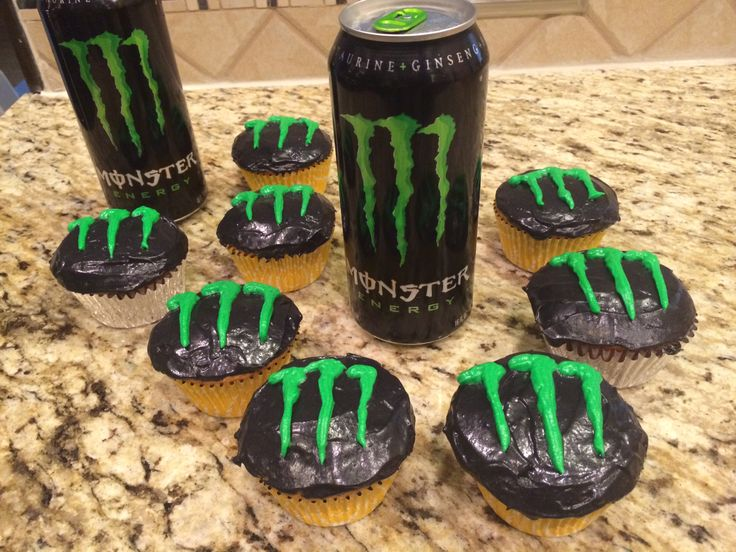 Monster Energy Drink Cupcakes. Both the cupcakes and the Frosting have energy drink in the ingredients.  #MonsterEnergy #desserts #food #baking #bake #foodanddesserts