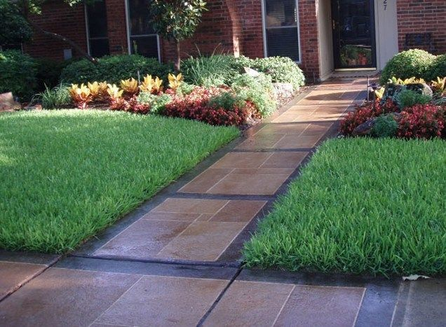 Colored Concrete Walkway Walkway and Path Backyard Creations Carrollton, TX
