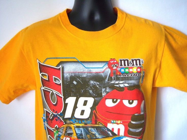 Men's M t-shirt Kyle Bush M & Ms Nascar 18 Orange w Graphics Short Sl Cotton #Nascar #KyleBuschMotorsports #carracing