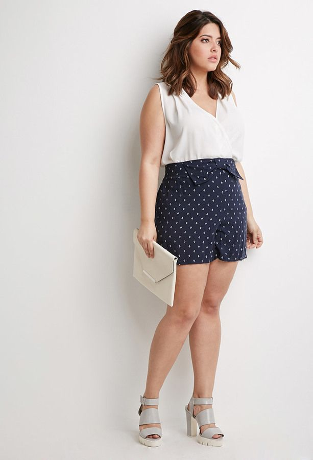 FOREVER 21+ Diamond Print Bow Shorts (Plus Size)