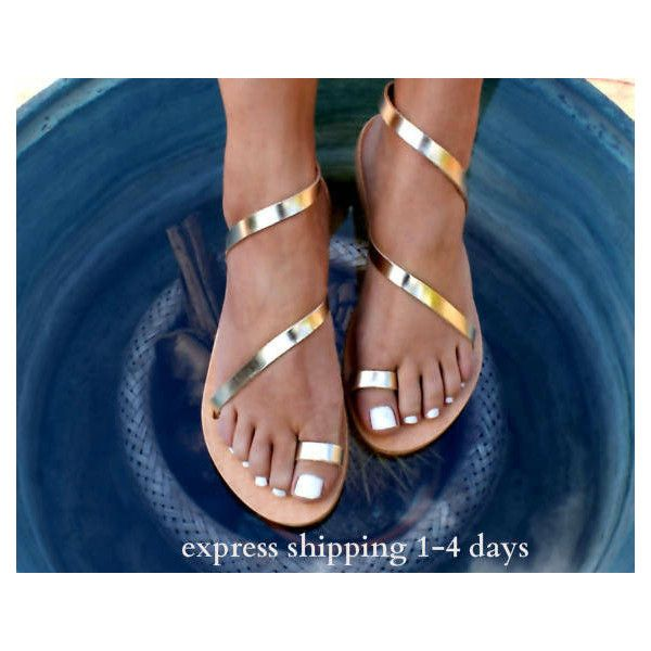 CLEOPATRA 2 ancient Greek leather sandals/ classic leather sandals/... (€38) via Polyvore featuring shoes, sandals, gold strap sandals, t-strap flats, gold strappy sandals, gold sandals and thick strap sandals